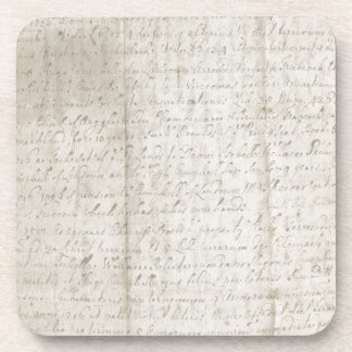 Creased Old Paper with Writing Drink Coaster