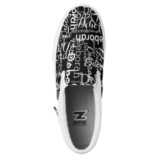 create a black-and-white typography Slip-On sneakers