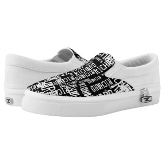 create a cool black-and-white typography Slip-On sneakers