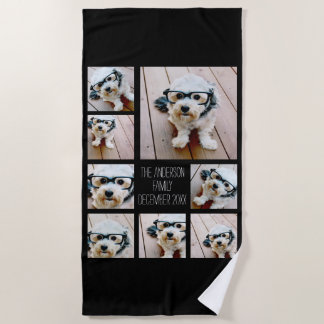 Create a Custom Photo Collage with 8 Photos Beach Towel