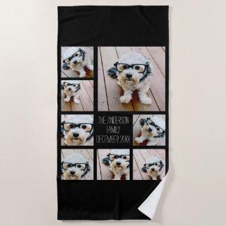 Create a Custom Photo Collage with 8 Photos Beach Towel