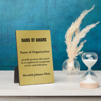 Create a Custom Volunteer Recognition Award (Gold) Display Plaque
