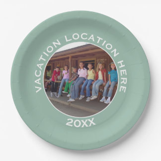 Create A Vacation Souvenir with Photo and Text Paper Plate