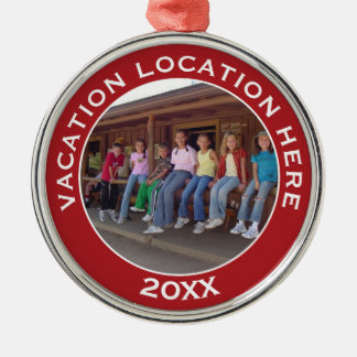 Create A Vacation Souvenir with Photo and Text Silver-Colored Round Ornament