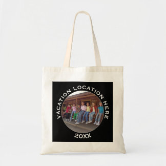 Create A Vacation Souvenir with Photo and Text Tote Bag