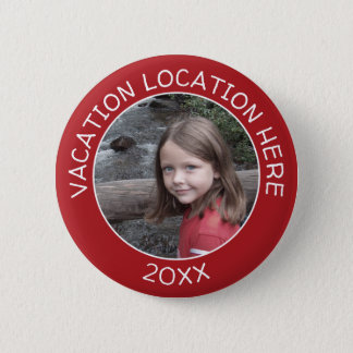 Create A Vacation Souvenir with Your Photo & Text 2 Inch Round Button