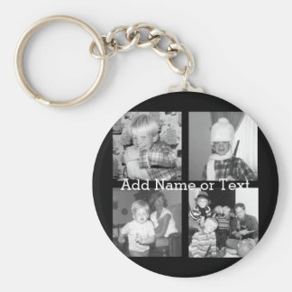Create an Instagram Collage with 4 photos - black Basic Round Button Keychain