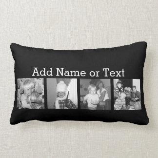 Create an Instagram Collage with 4 photos - black Lumbar Pillow
