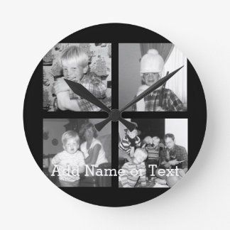 Create an Instagram Collage with 4 photos - black Wall Clock
