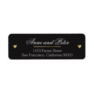 create black custom elegant wedding return address label
