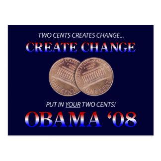 Create Change with Obama Postcard