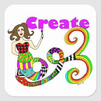 Create Colorful Mermaid Muse Square Sticker