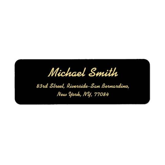 Create Custom Black Golden Elegant Return Address