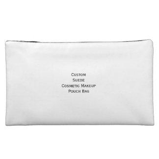 Create Custom Suede Cosmetics Makeup Zip Pouch Bag