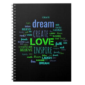 Create inspire word art notebook