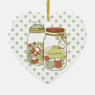 Create mason jar and dots ornament