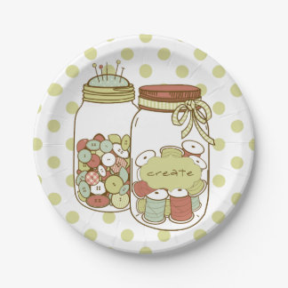 Create mason jar and polka dots paper plates
