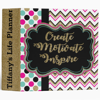 Create Motivate Inspire Personalized Life Planner Vinyl Binders