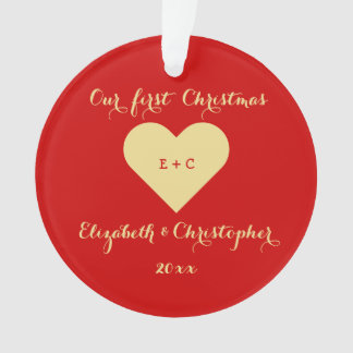Create Mr Mrs Our First Christmas Heart Monogram Ornament