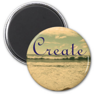 """Create"" Ocean Waves Photograph 2 Inch Round Magnet"