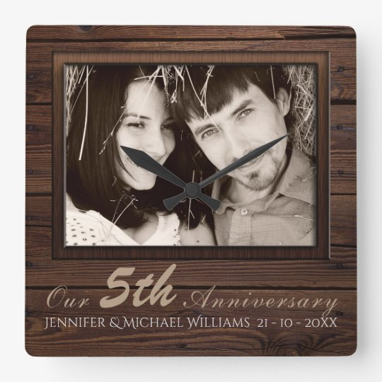 Create Own 5th Wedding Anniversary PHOTO Gift Name Square Wall Clock