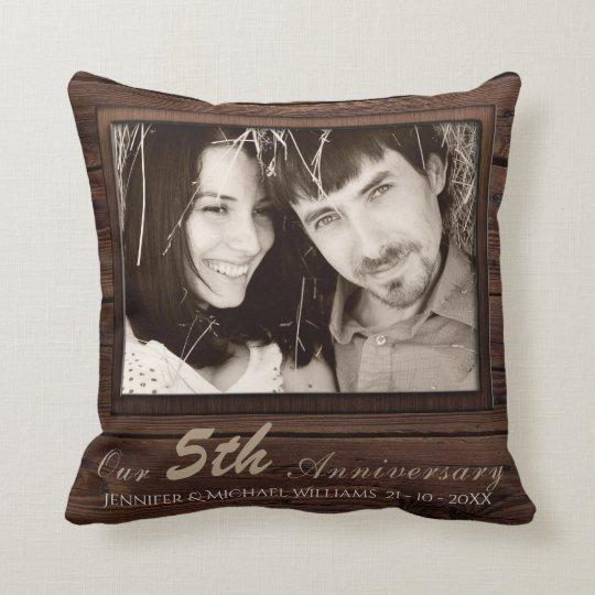 Create Own 5th Wedding Anniversary PHOTO Gift Name Throw Pillow