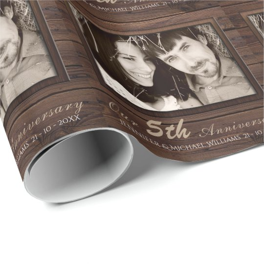 Create Own 5th Wedding Anniversary PHOTO Gift Name Wrapping Paper