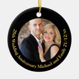 Create Own ANNIVERSARY PHOTO Gift under $15 Ceramic Ornament