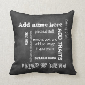 Create own chalkboard wordcloud birthday throw pillow