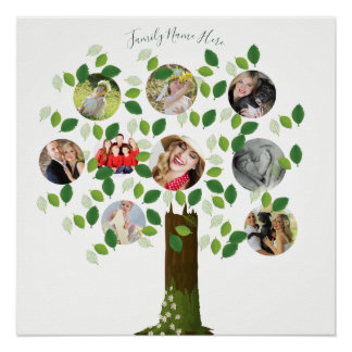 Create Own Family Tree 9 PHOTO Template Collage 2 Poster