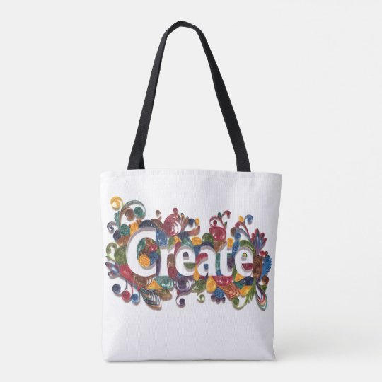 Create - paper quilling art front and back on Tote