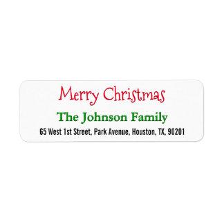 Create Personalized Merry Christmas Return Address