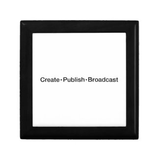"""CREATE  •  PUBLISH  •  BROADCAST"", text, CREATE, Gift Box"