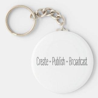 """CREATE  •  PUBLISH  •  BROADCAST"", text, CREATE, Keychain"