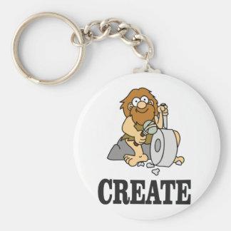 create stone man basic round button keychain