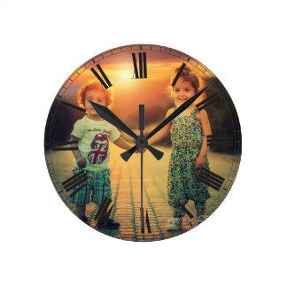 Create Your Custom Photo Brown Classy Elegant Round Clock