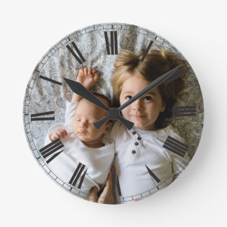 Create Your Custom Photo Grey Classy Elegant Round Clock