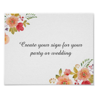 create your floral wedding sign or party sign
