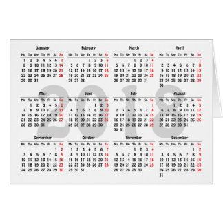 Create your own 2018 calendar card