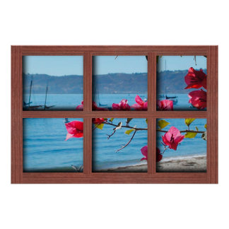 Create Your Own 24x36 Red Wood Window Frame Poster