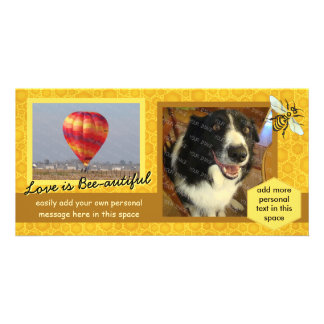 Create Your Own 2 Photo Bee Honeycomb Love Theme Customized Photo Card