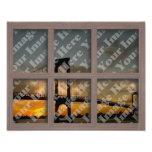 Create Your Own 6 Pane Bleached Brown Window Frame Poster