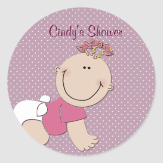 Create your own baby shower classic round sticker