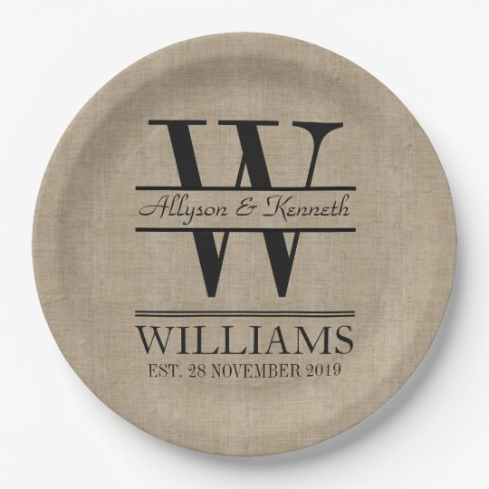 Create Your Own Burlap Logo Anniversary Monogram 9 Inch Paper Plate