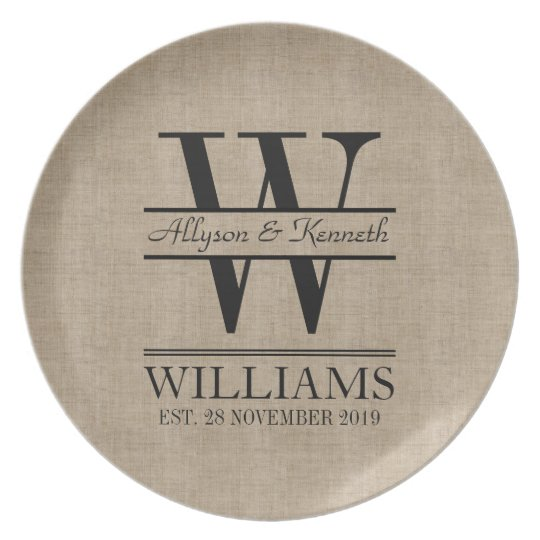 Create Your Own Burlap Logo Anniversary Monogram Dinner Plate