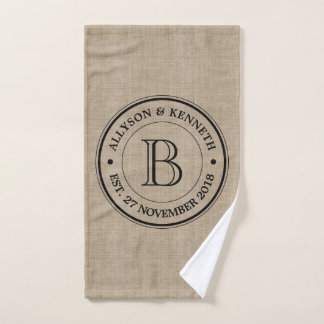Create Your Own Burlap Logo Anniversary Monogram Hand Towel