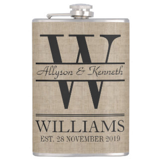 Create Your Own Burlap Logo Anniversary Monogram Hip Flask