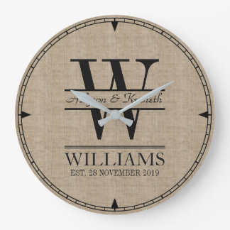 Create Your Own Burlap Logo Anniversary Monogram Large Clock