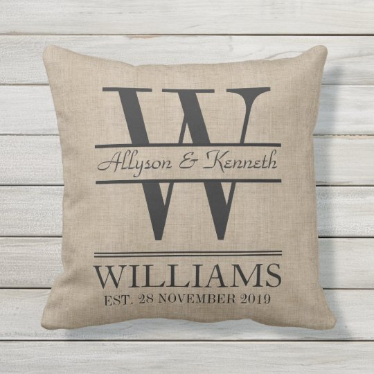 Create Your Own Burlap Logo Anniversary Monogram Outdoor Pillow
