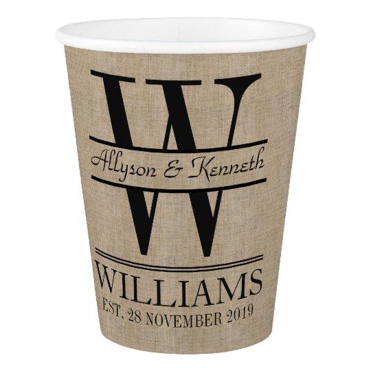 Create Your Own Burlap Logo Anniversary Monogram Paper Cup